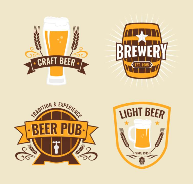 4 Beer Element Tag Vector