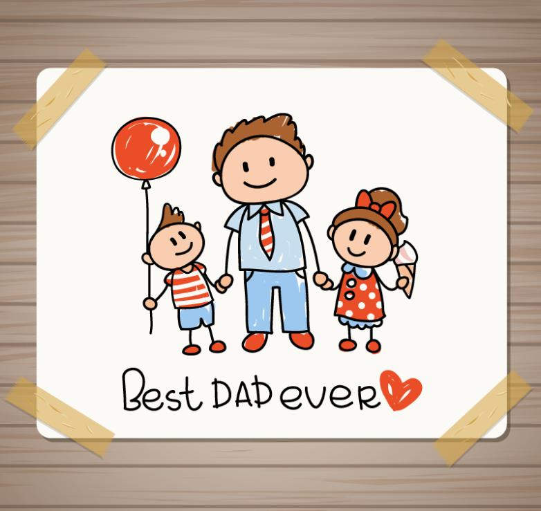 Hand-painted Father's Day Cards Vector