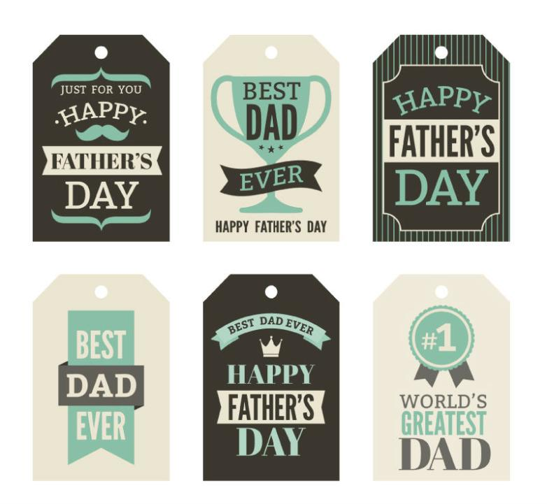 Six Green Is Father's Day Card Vector