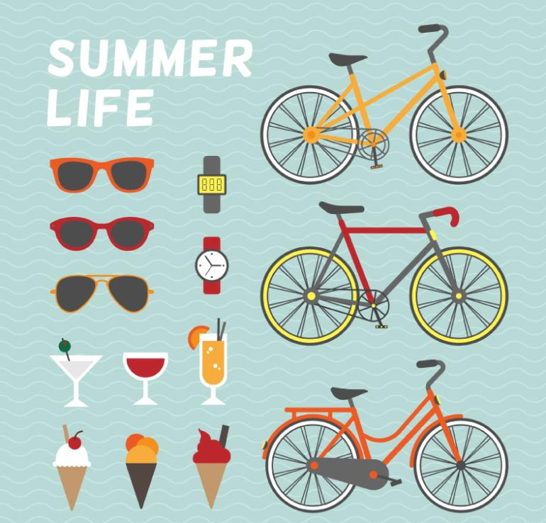Summer Vacation Life Elements Vector