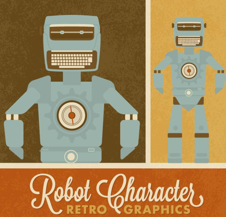Robot Design Restoring Ancient Ways Vector