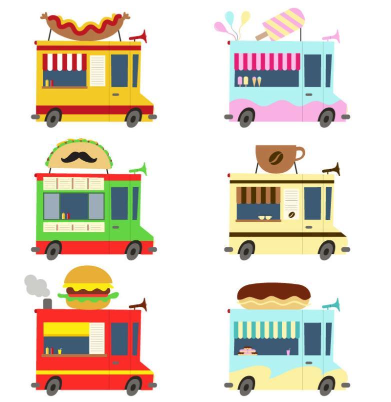 Six Cartoon Food Food Truck Vector