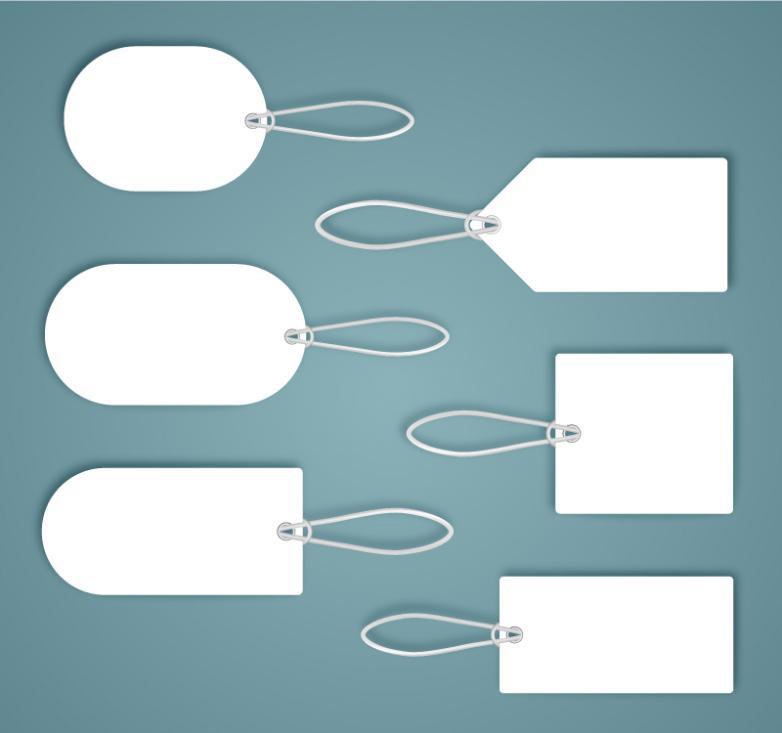 Six Blank Tags Design Vector