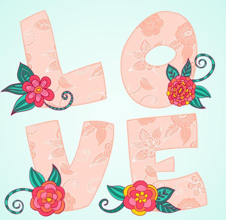 Flower Decoration Love Art Vector