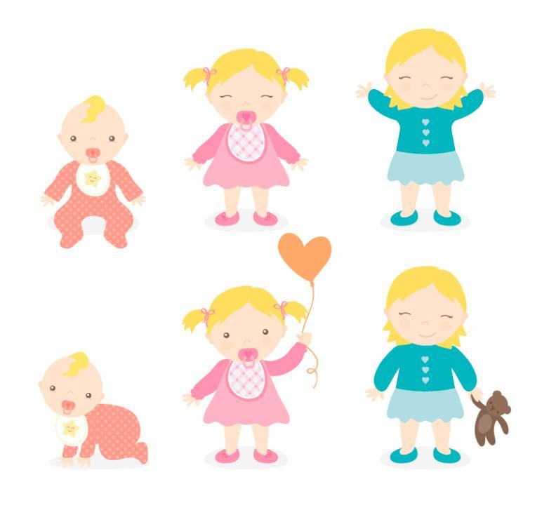 Six Cartoon Baby And Girls Vector