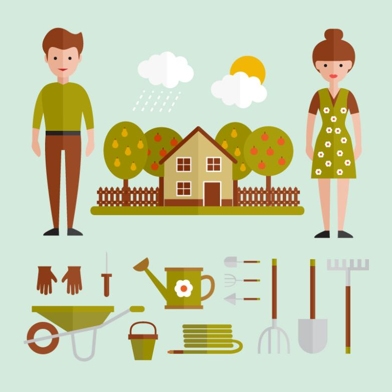 Flat Characters And Gardening Tools Vector