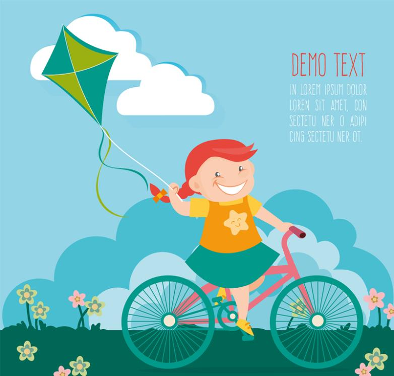 The Girl Ride A Bike Fly A Kite Vector