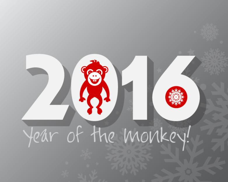 2016 Year Of The Monkey Card Vector