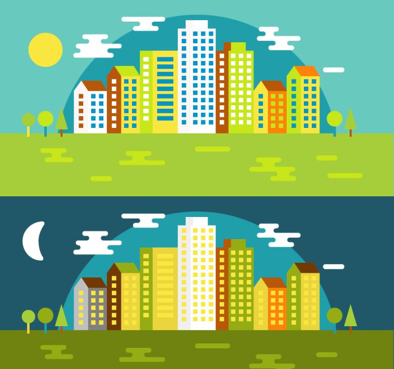 Day And Night Of The City Vector