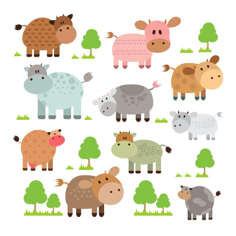10 Cartoon Cows And Trees Vector