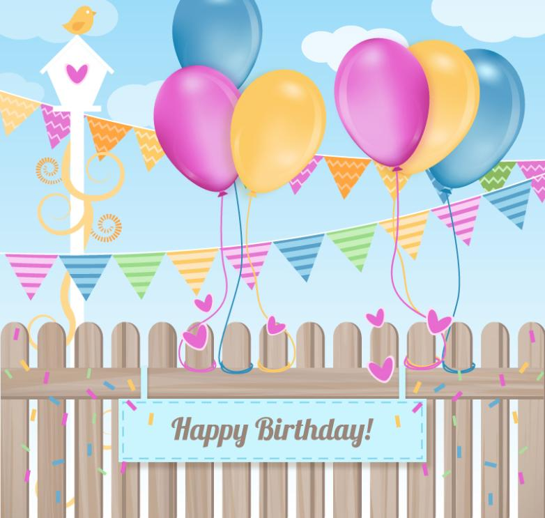 Colorful Balloons And Fences Birthday Cards Vector