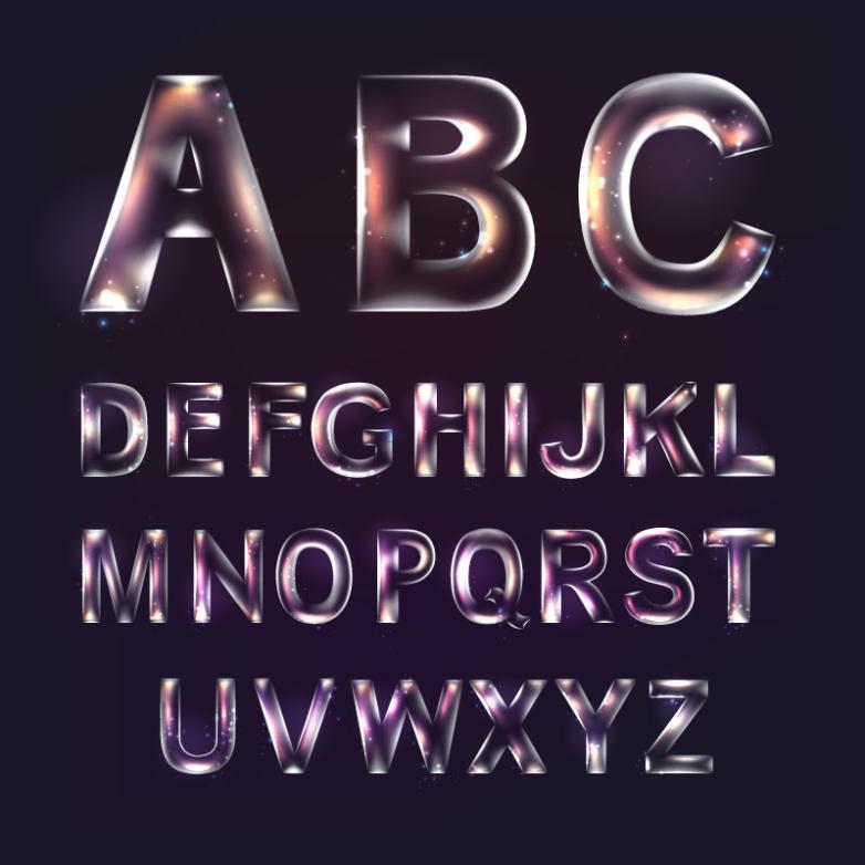 Transparent 26 English Letters Vector