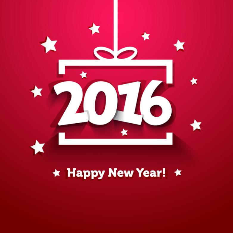 In 2016 New Year Greeting Card Vector