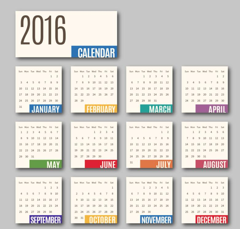 Card Calendar In 2016 Vector
