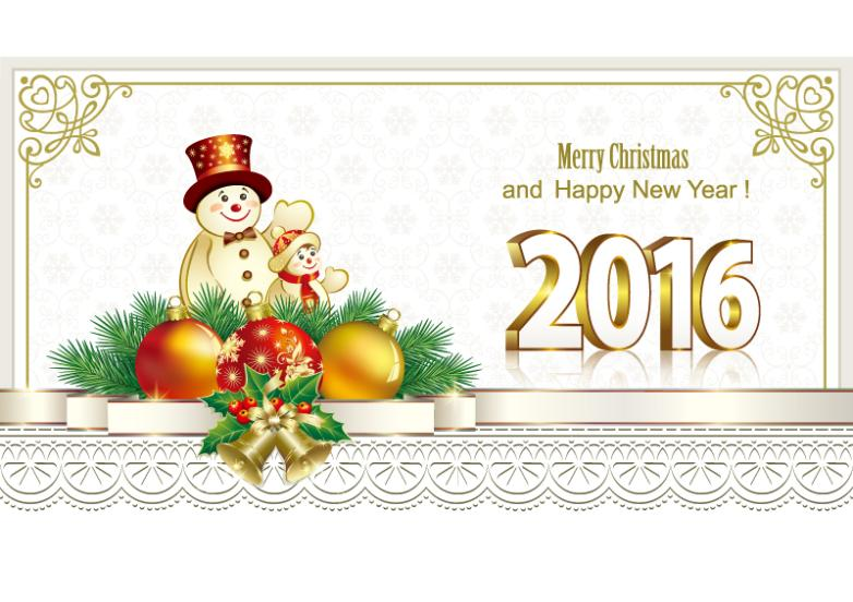 A Snowman In 2016 New Year Greeting Card Vector