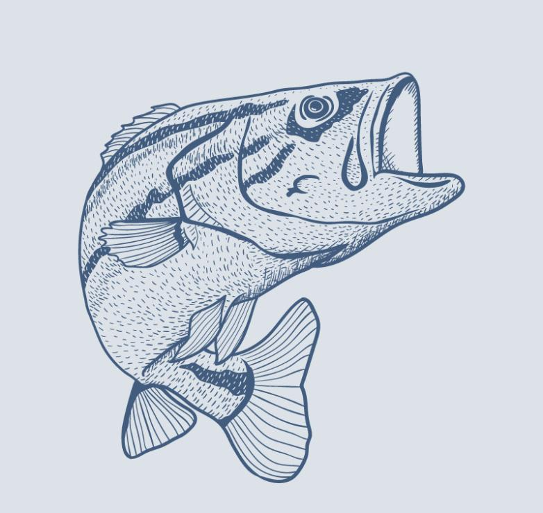 Hand Painted Blue Fish Vector