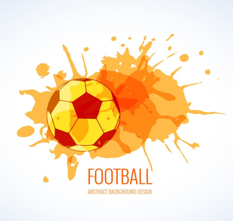 Orange Watercolor Football And Ink Vector