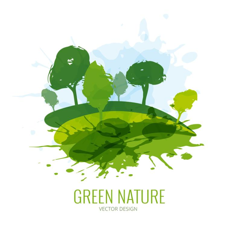 Water Painted Green Natural Trees Vector
