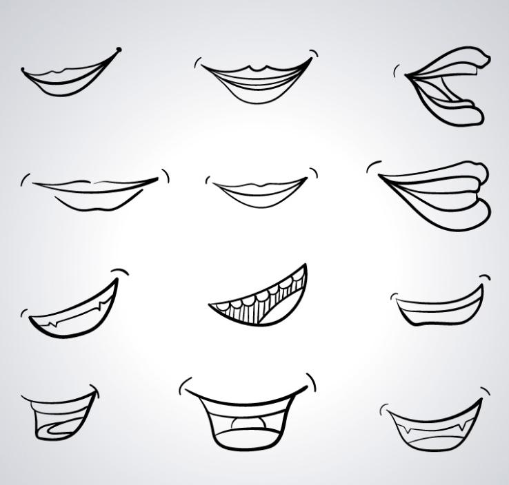 12 Hand-painted Design In The Mouth Vector