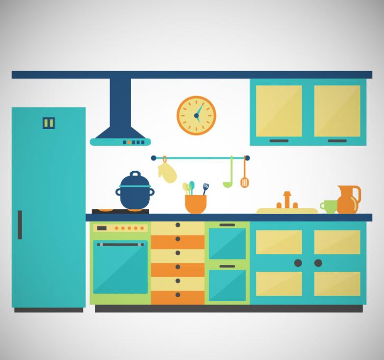 Turquoise Kitchen Design Vector