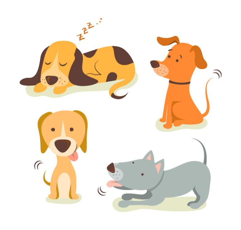 4 Cartoon Dog Vector