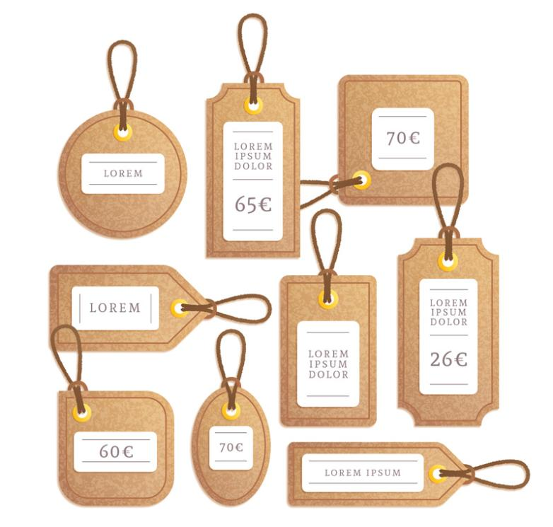 Nine New Paper Price Tags Vector