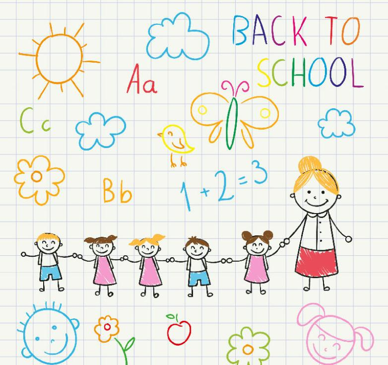 Coloured Drawing Or Pattern The Teacher, And Children Vector