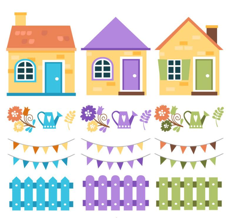 21 Cartoon Houses And Decorations Vector