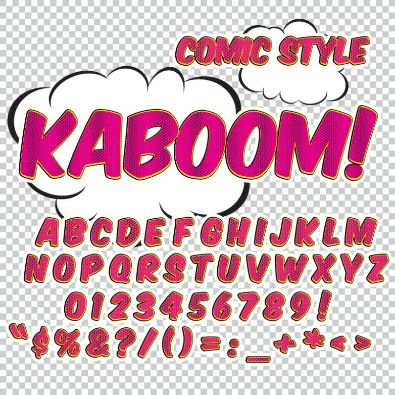 Comic Style English Letters Of Art And Design Vector