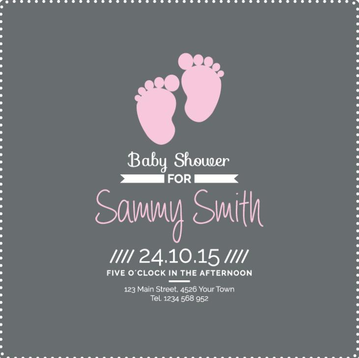 Lovely Footprint To Meet Baby Party Posters Vector