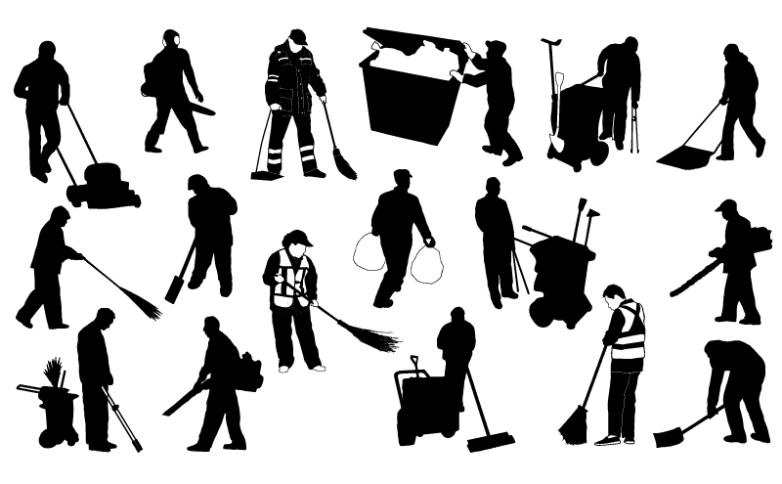 17 Sanitation Worker Silhouette Vector