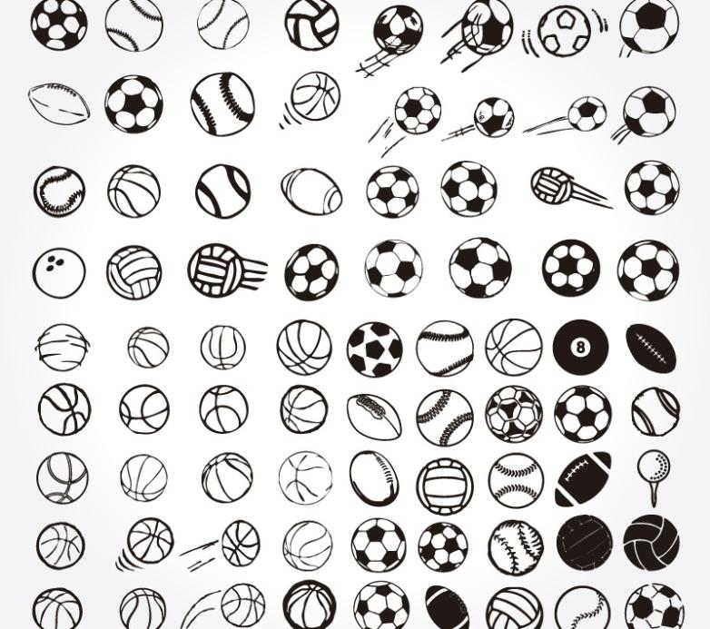 77 Hand-painted Ball Design Vector