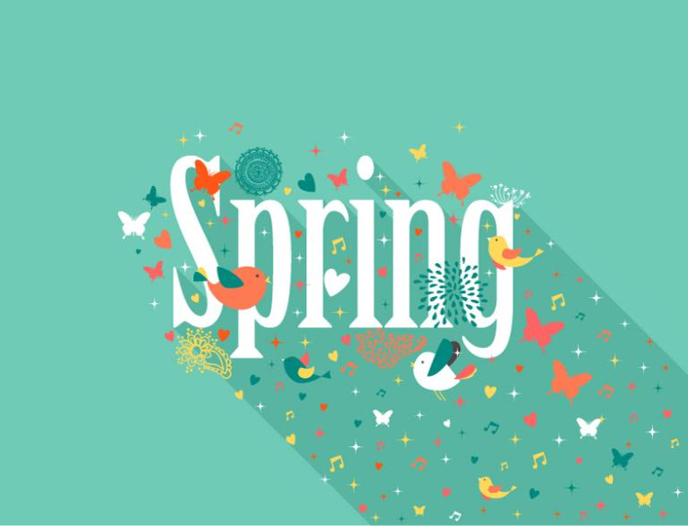 Pure And Fresh Spring Artistic Words Vector