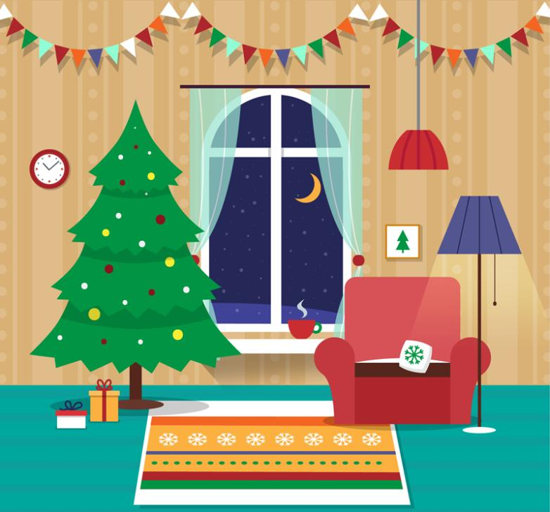 Christmas Eve Sitting Room Illustrations Vector