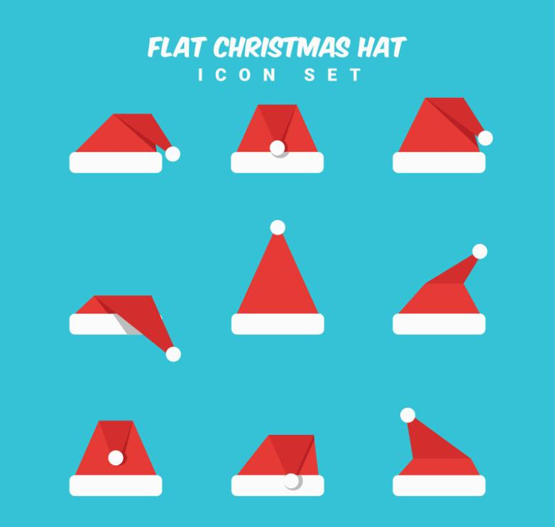 Nine New Flat Christmas Hat Design Vector