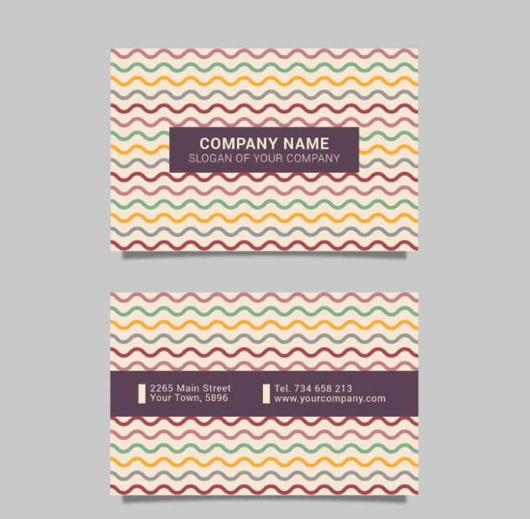 Color Business Cards In Wavy Lines Vector