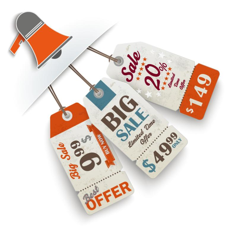 Promotional Horn With Tags Vector