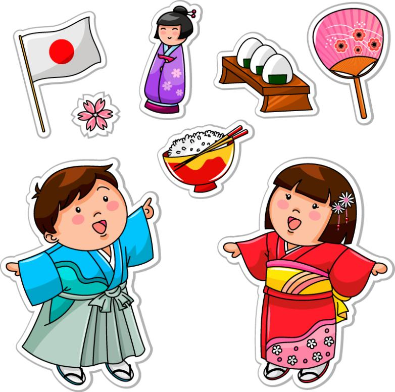 Eight Japanese Doll Element Stickers Vector