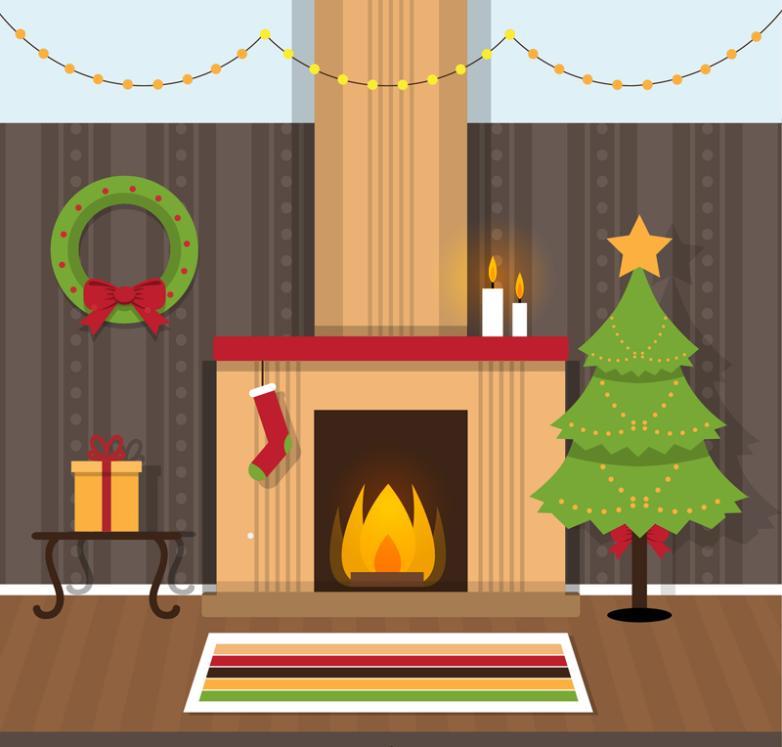 Warm Christmas Sitting Room Vector