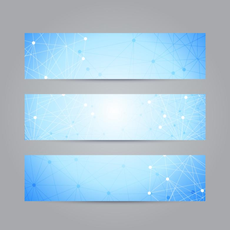 Three Dots Connected Line Decoration Banner Vector