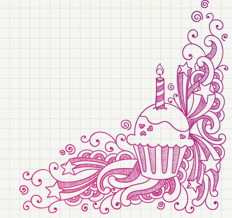 Hand Painted Pattern And Cupcakes Vector