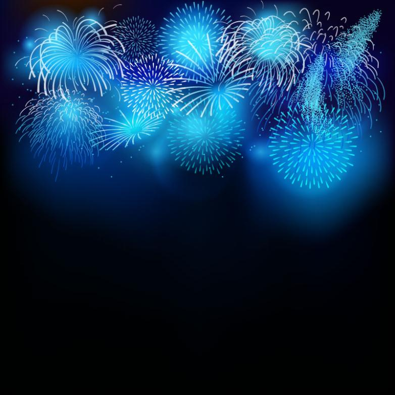 Fireworks Bright Blue Background Vector