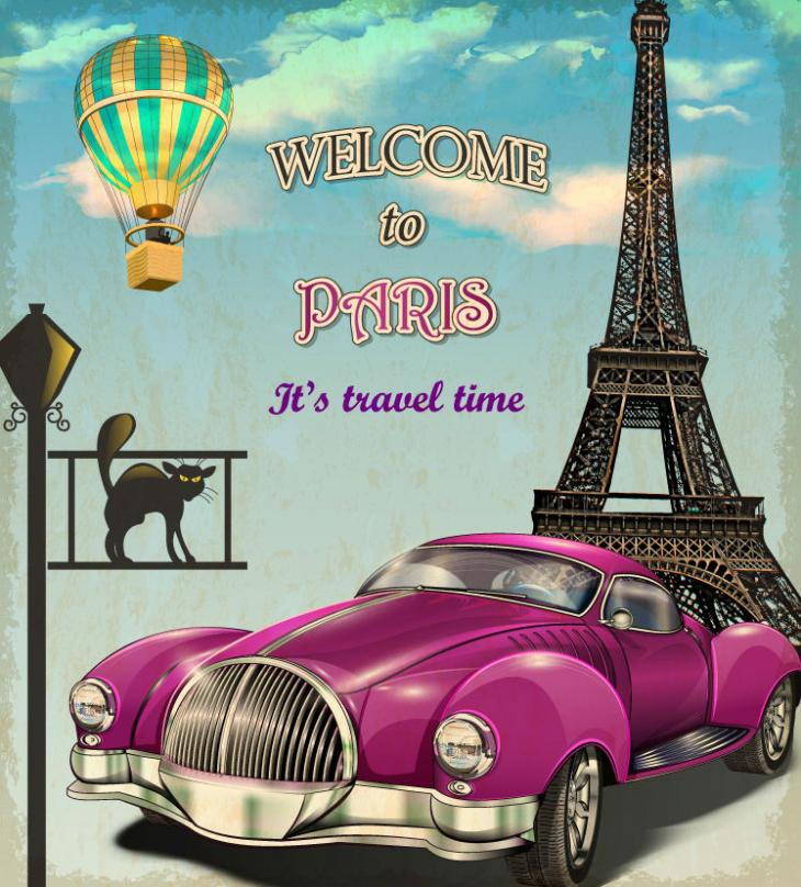 Restore Ancient Ways In Paris Purple Car Vector