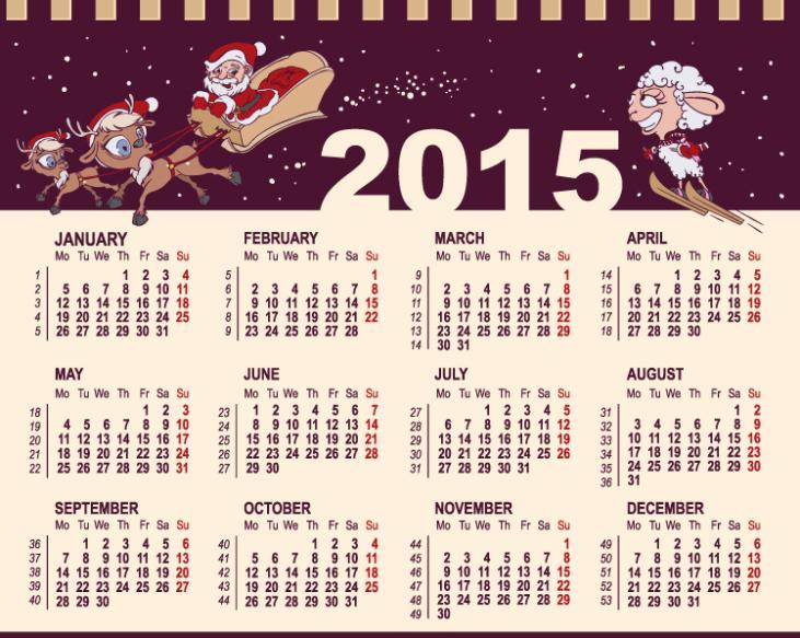 2015 Purple In The Calendar Vector