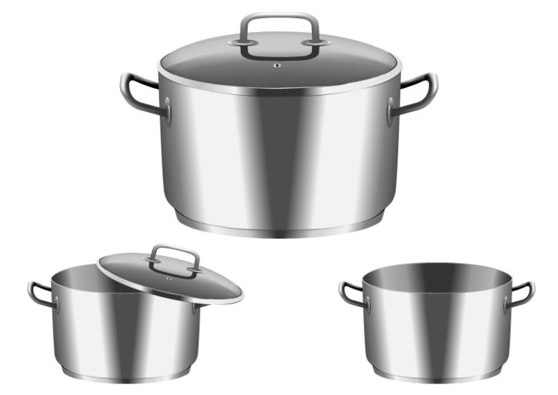Three Fine Stainless Steel Pot Design Vector