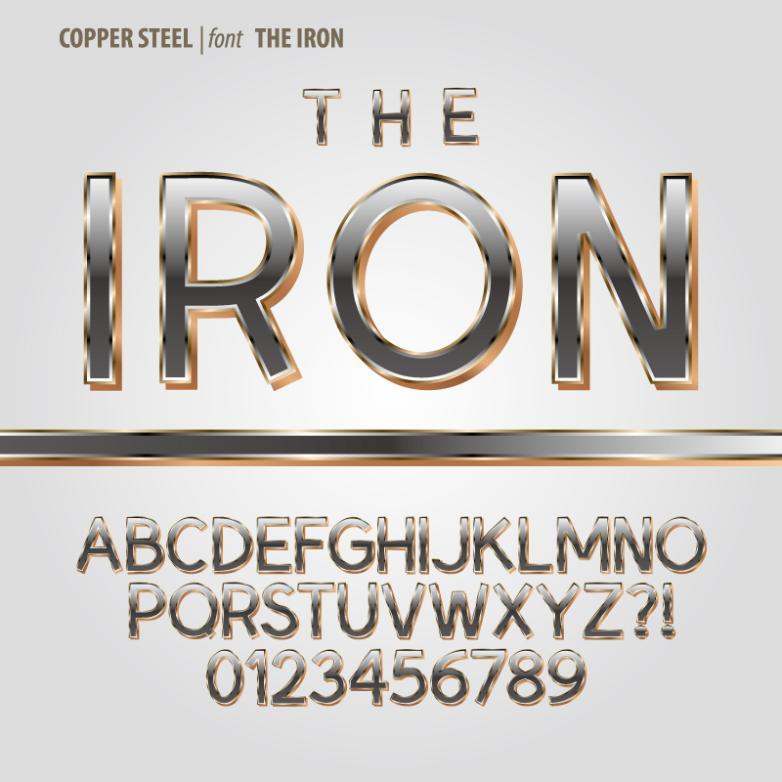 Metallic Font Design Vector