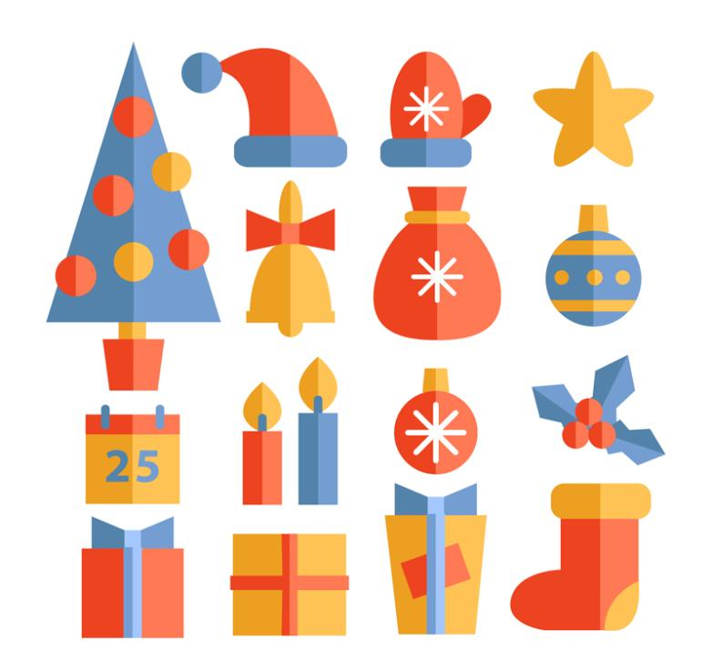 16 Flat Elements On Christmas Day Vector