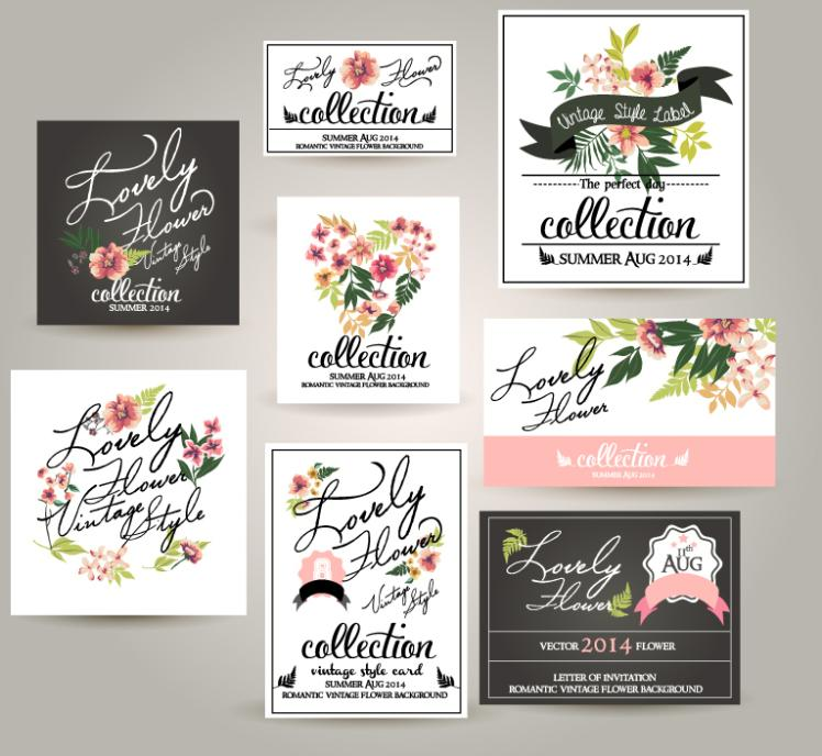 Eight Creative Flower Card Vector