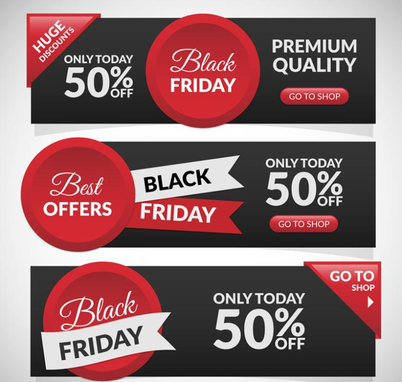 Three Black Friday Promotional Banner Vector