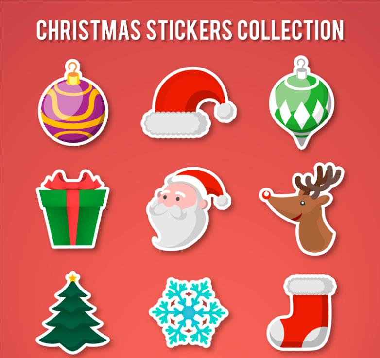 9 Christmas Stickers Role Vector
